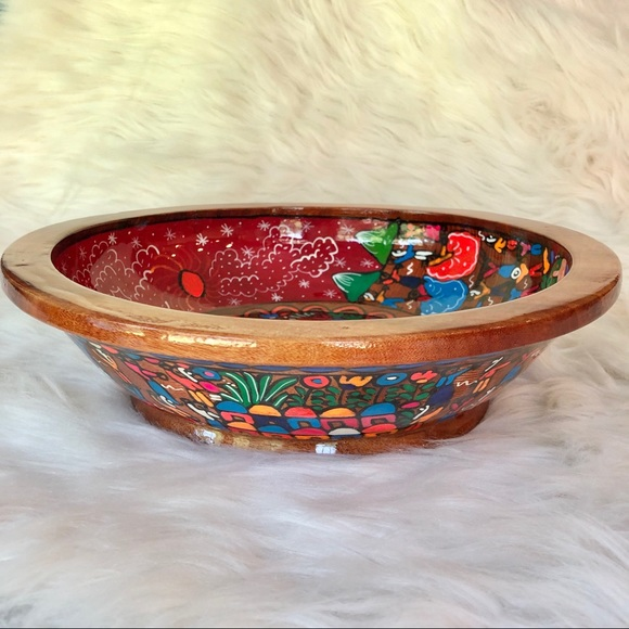 Vintage Hand Painted Mexican Story Bowl Wedding